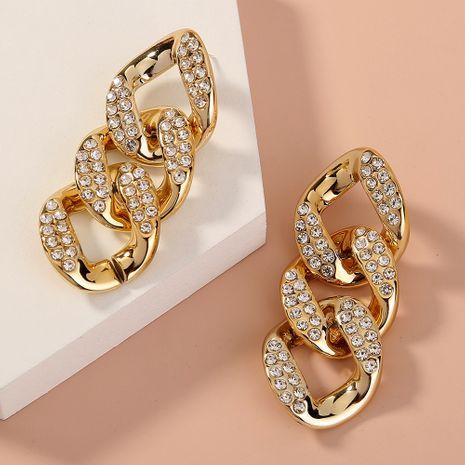 Boucles d'oreilles exagérées de mode à chaud chaîne boucles d'oreilles longues en diamant en métal NHAN263040's discount tags