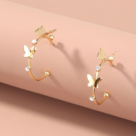 Pendientes de diamantes de mariposa brillantes en forma de C exagerados Pendientes de joyería de moda NHAN263042's discount tags