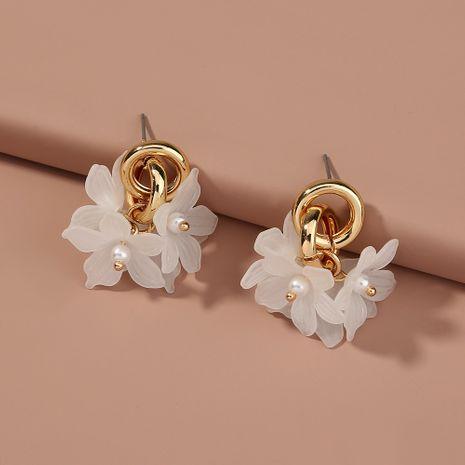 Pendientes de moda coreana pendientes de flores de resina con colgante compacto de doble círculo NHAN263043's discount tags