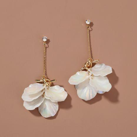 Pendientes de pétalos blancos de perlas de colores anudados coreanos pendientes largos de borla NHAN263045's discount tags