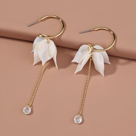 Pendientes colgantes de circón de hoja blanca perla colorida borla larga gancho de oreja en forma de C NHAN263046's discount tags