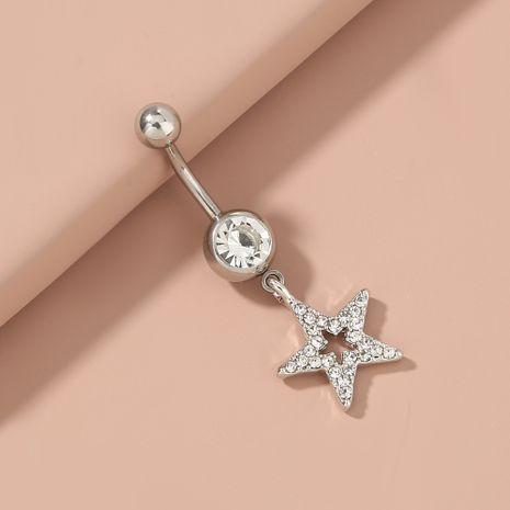 Anneau de nombril sexy en acier inoxydable à cinq branches en forme d'étoile sertie de diamants et zircon NHAN263051's discount tags