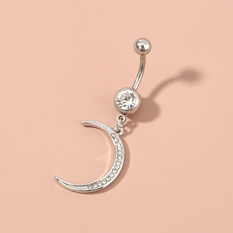 Moon Diamond-besetzter Belly Button Ring Edelstahl Belly Button Nail Kleiner Schmuck NHAN263052's discount tags