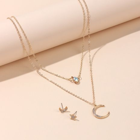 Hot selling fashion star moon multilayer necklace earrings set wholesale NHRN263056's discount tags