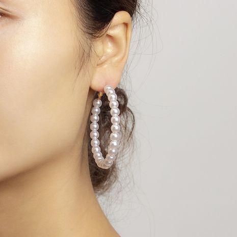 elegantes pendientes de perlas grandes pendientes de círculo geométrico NHRN263066's discount tags