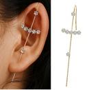 Creative Simple Alloy Inlaid Rhinestone Earrings Slash Earrings wholesale NHPJ263072