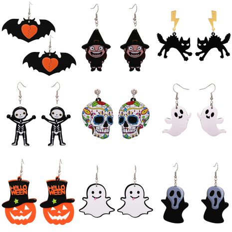 Halloween Funny Pumpkin Acrylic Earrings Little Witch Resin Earrings NHJJ263079's discount tags