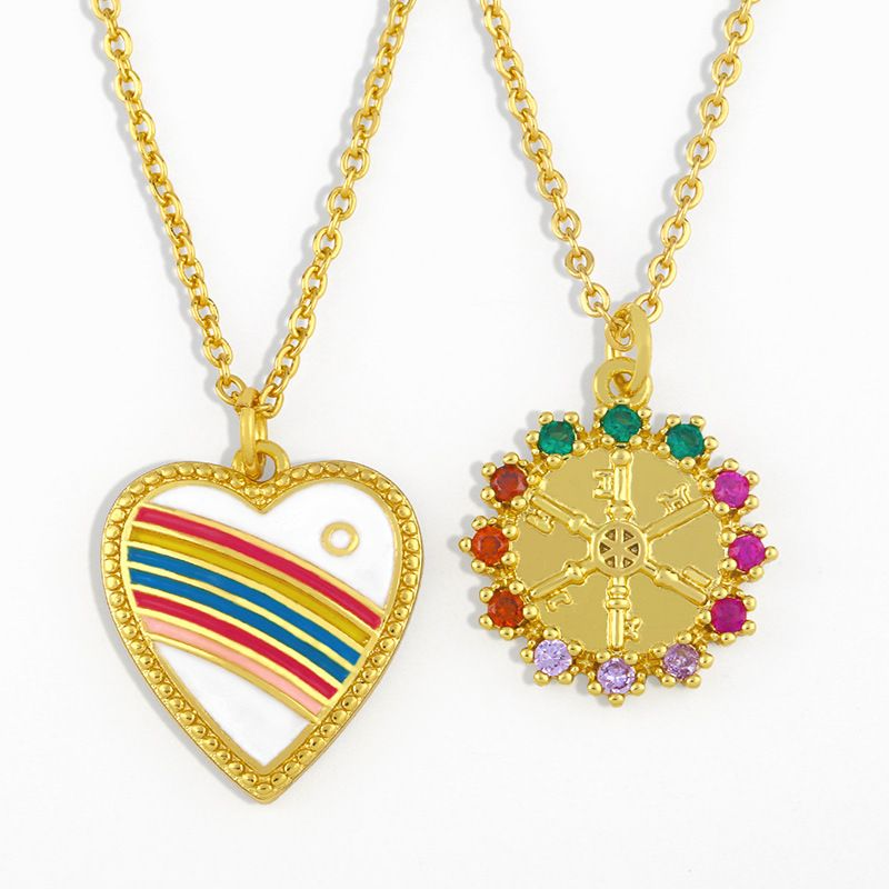heart-shaped simple rainbow pendant copper clavicle chain necklace NHAS263081