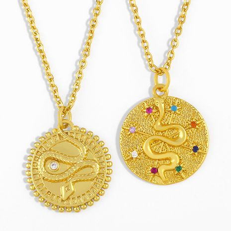 Fashion new snake single layer gold coin all-match clavicle chain necklace accessories NHAS263083's discount tags