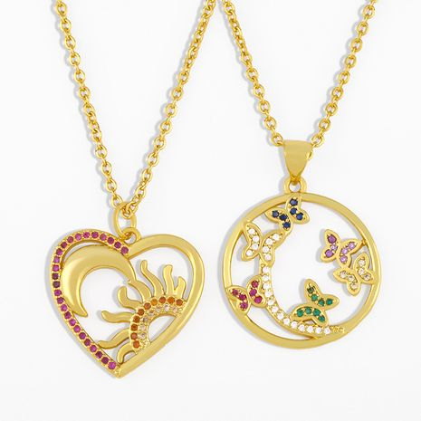 butterfly pendant clavicle chain simple sun moon diamond sweater chain necklace NHAS263086's discount tags