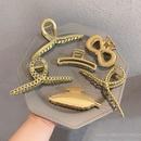 Korean elegant metal large catch clip back head plate hair catch alloy ball head pearl hairpin NHOF263087