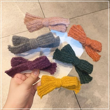 Korean Knitted wool bowknot simple wind cute word clip seamless side ponytail clip hairpin for women NHOF263089's discount tags