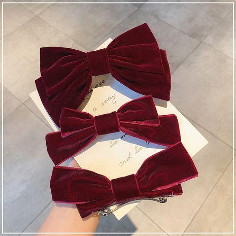 Korea fashion autumn new retro velvet bow spring clip lolita hairpin  NHOF263091's discount tags