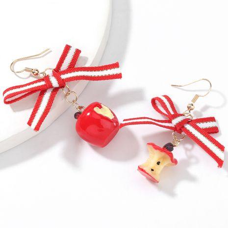 Christmas Grosgrain Bowknot Resin Apple Earrings NHJE263099's discount tags