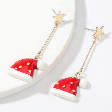 boucles d'oreilles en résine étoile en alliage pour femmes forme de chapeau de Noël NHJE263100's discount tags