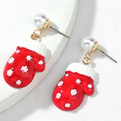Christmas alloy inlaid pearl resin Christmas glove earrings NHJE263101's discount tags