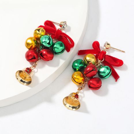 Christmas multilayer alloy bell earrings wholesale NHJE263102's discount tags