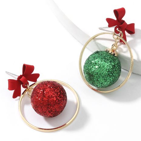 Christmas alloy spray paint bow resin red and green ball asymmetric earrings  NHJE263104's discount tags