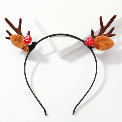 Christmas series resin mushroom flannel antler headband girl cute hair accessories NHJE263105's discount tags