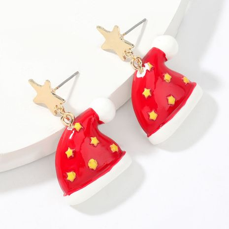 Christmas alloy star resin Christmas hat earrings fashion earrings for women NHJE263106's discount tags