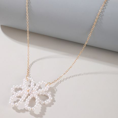 fashion new simple pearl flower elegant alloy clavicle chain necklace NHGY263113's discount tags