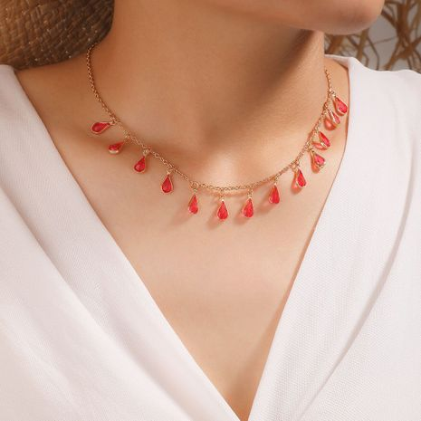 Korean fashion colorful diamond drop alloy necklace for women hot-saling NHGY263115's discount tags