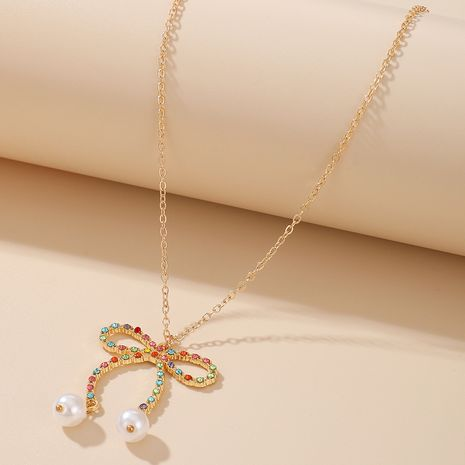 fashion new pearl colorful diamond bow knot alloy necklace sweater chain NHGY263116's discount tags