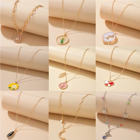 fashion new disc flower fruit necklace simple moon butterfly clavicle chain NHGY263124's discount tags