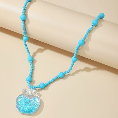 fashion new exaggerated retro green rice beads apple pendant long necklace NHGY263126's discount tags
