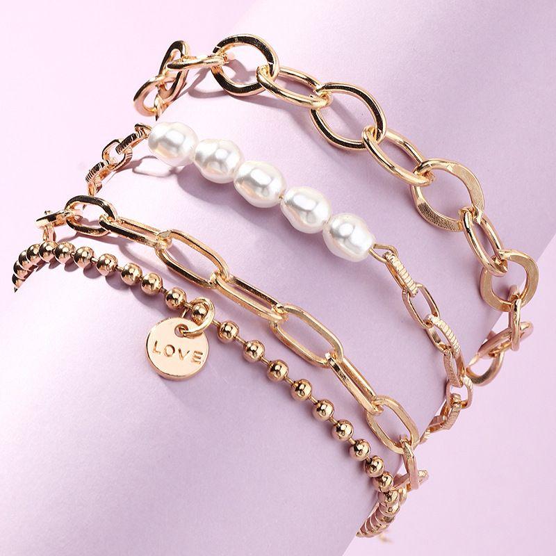 bijoux en gros mode simple chane multicouche bracelet gomtrique bracelet de perles NHNZ263149