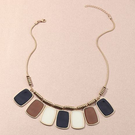Fashion ethnic style geometric new square oil drop necklace for women NHNZ263150's discount tags