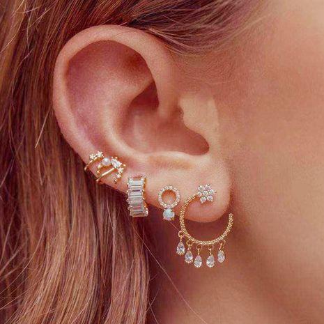 wholesale Boucles d'oreilles fleur micro-incrustées en forme de C Boucles d'oreilles pompon goutte d'eau en zircon NHNZ263156's discount tags