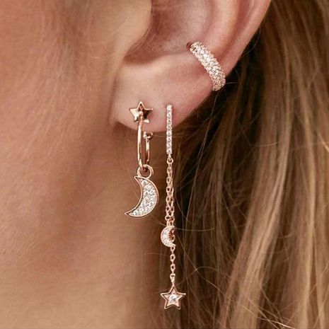 jewelry wholesale creative simple diamond five-pointed star moon earrings set NHNZ263163's discount tags