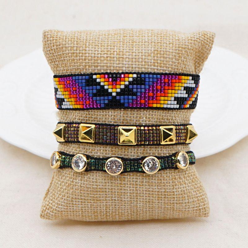 rice beads braided eyes handmade jewelry fashion diamond rivet bracelet NHGW263169