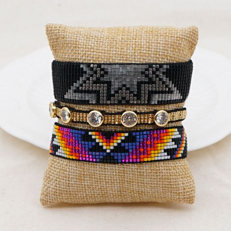 Hot selling fashion rice beads woven handmade geometric bracelet wholesale NHGW263171's discount tags
