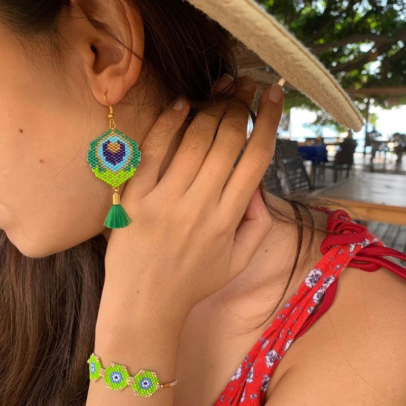 women earrings creative fashion Miyuki rice beads woven peacock feather ear jewelry NHGW263172