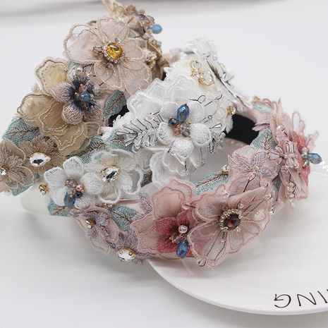 Baroque Sponge Exaggerated Pearl Lace Petal Diamond Crystal Geometric Women's Prom Hair Accessories NHWJ263187's discount tags