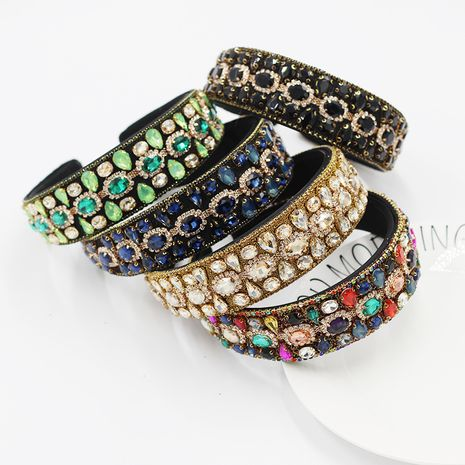 New Baroque fashion full diamond wild headband NHWJ263192's discount tags