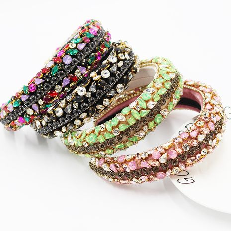 Neues geometrisches Luxus-Stirnband aus Strass in Barockfarbe NHWJ263195's discount tags
