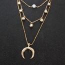 Retro Alloy Geometric Moon Pendant Diamond allmatch Necklace for women NHCT263198