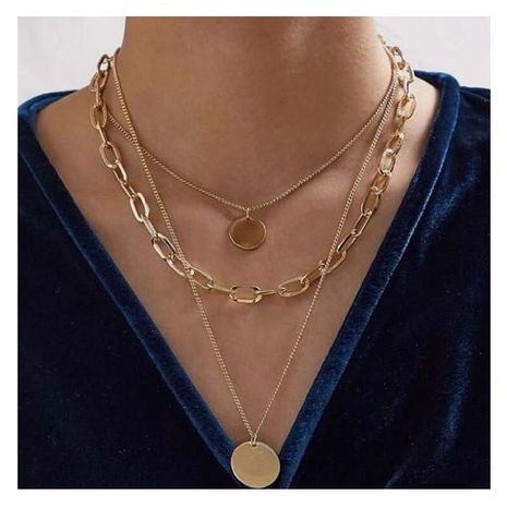 Fashion new alloy round coin simple retro pendant necklace for women NHCT263199's discount tags