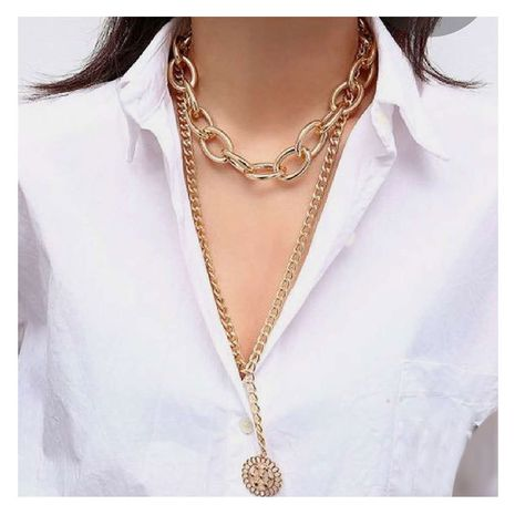 Fashion new gold thick chain flower medallion alloy pendant necklace NHCT263206's discount tags