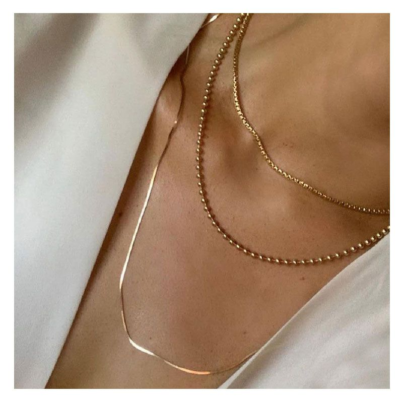 Fashion gold clavicle chain multilayer new necklace for women NHCT263207