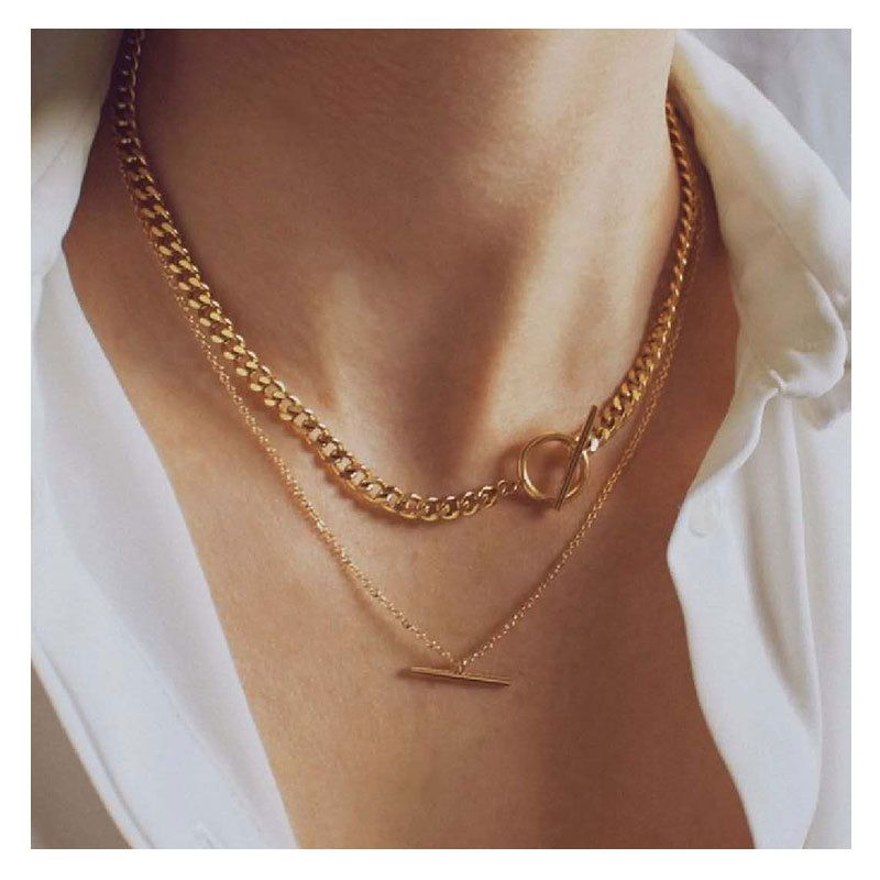 Fashion alloy women's all-match snake bone double-layer chain necklace NHCT263208