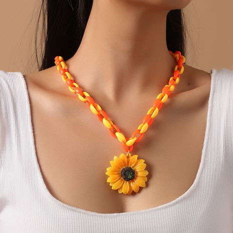 Fashion Acrylic Contrast Color Sunflower Necklace Simple Exaggerated All-match Resin Necklace NHKQ263225's discount tags