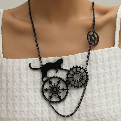 Simple fashion dark new exaggerated resin hollow gear cat necklace NHKQ263230's discount tags