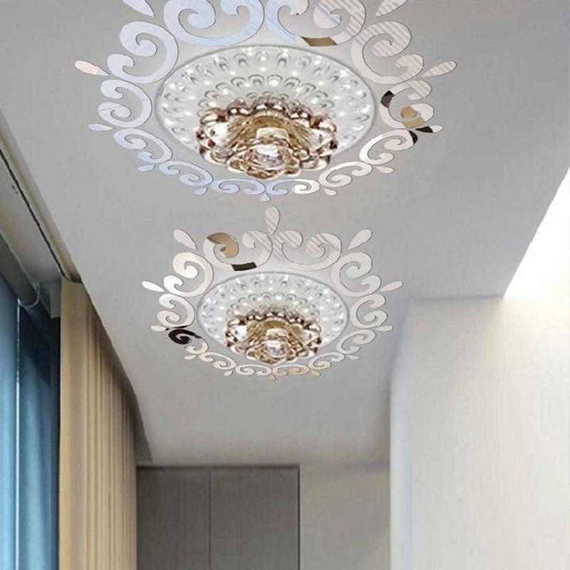 3D stereo mirror wall stickers bathroom toilet water drop porch chandelier ceiling vanity mirror  NHAF263238