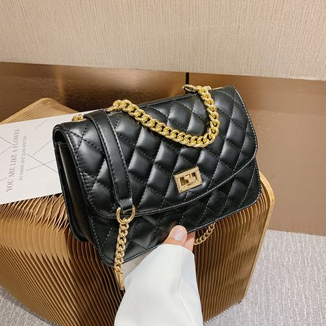 new fashion rhombus chain shoulder messenger small golden ball wild small square bag for women NHJZ263293's discount tags