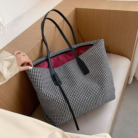 new large-capacity houndstooth bag Korean shoulder tote bag NHJZ263313's discount tags