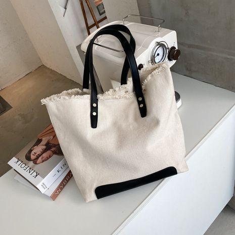 Large-capacity canvas bag autumn fashion portable one-shoulder underarm tote bag NHJZ263355's discount tags